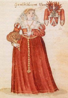 This is approximately the dress I will be making.  Red with trim, slim sleeves with shoulder detail, veil, partlet and such.  No fan though I think.   Venetian late 16C