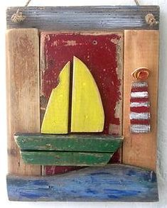 Handmade Driftwood Sail Boat, with lighthouse, Driftwood Art, Driftwood decor, handpainted driftwood art from Ireland via Etsy