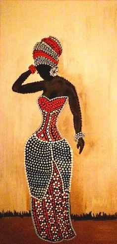 Dot Art Painting, Mandala Painting, Mandala Art, Fabric Painting, Black Girl Art, Black Women Art, Tile Art, Mosaic Art, Afrique Art