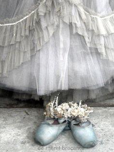 pale blue ballet pointe shoes