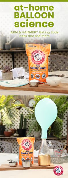 Here's an at-home science project to teach kids about the wonders of gas and chemical reactions. First, use a funnel to fill the balloon with cup baking soda. Next, fill a plastic bottle with 1 cup vinegar. Then attach the opening of the balloon to Kid Science, Science Crafts, Preschool Science, Science Fair, Science Projects, Projects For Kids, Crafts For Kids, Fair Projects, Summer Science