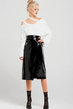 Alaina Slit Patent Skirt Discover the latest fashion trends online at storets.com #fashion #patent #skirt #storetsonme