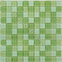 "Green Squares 1"" x 1"" Green Crystile Blends Glossy Glass Tile"