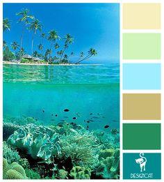 Farb-und Stilberatung mit www.farben-reich.com - Bahamas: Teal, Tiffany Blue, Green, Beige, sand - Colour Inspiration Pallet