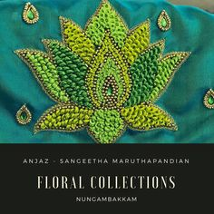 Light green and dark green combination Embroidery Neck Designs, Embroidery Works, Embroidery Motifs, Simple Embroidery, Beaded Embroidery, Cutwork Blouse Designs, Saree Kuchu Designs, Simple Blouse Designs, Bridal Blouse Designs