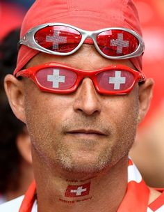 #EURO2016 A Switzerland supporter poses ahead the Euro 2016 round of sixteen football match between Switzerland and Poland at the GeoffroyGuichard stadium in...