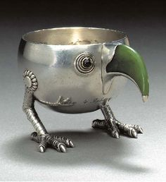 A JEWELLED GOLD AND SILVER-MOUNTED CHARKA SHAPED AS A BIRD, marked Fabergé and with the workmaster's mark of Anna Ringe, St. Petersburg, circa 1896, with scratched inventory number 2661. Of rounded form, with gold-mounted cabochon red stone eyes, nephrite beak and claw feet, engraved with the Russian inscription 'Christmas Tree, 4 January 1897'
