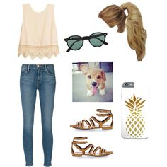 Park outfit by marilyng341 on Polyvore featuring Frame Denim, Yves Saint Laurent, Ray-Ban and Corgi