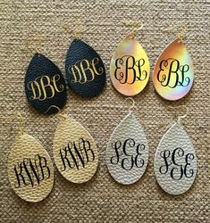 Excited to share this item from my shop: Monogrammed faux leather earrings - Monogram Earrings - Monogram Jewelry - personalized earrings - Personalized Jewelry, Boho Earrings Monogram Earrings, Monogram Jewelry, Personalized Jewelry, Diy Jewelry, Handmade Jewelry, Jewlery, Jewelry Making, Silver Jewelry, Letter Earrings