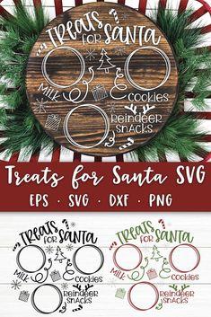 Cricut Projects Christmas, Christmas Svg, Diy Vinyl Projects, Xmas, Christmas Decor, Cookies For Santa Plate, Santa Plates, Animated Gifs, Cricut Tutorials