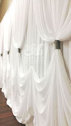 Wedding Backdrop Drapings - wave hem with contrast black bling curtain ties Wedding Backdrop Drapings - wave hem with contrast black bling curtain ties. Wedding Draping, Wedding Stage, Wedding Events, Weddings, Backdrop Decorations, Reception Decorations, Event Decor, Backdrop Ideas, Curtain Designs