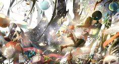 Konachan.com - 202447 animal deemo fish flowers girl_(deemo) instrument jpeg_artifacts loli long_hair seifuku sishenfan violin wings.jpg (1700×927)