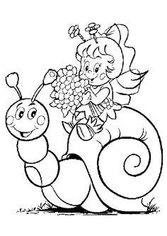 Une petite fille avec de jolies fleurs assise sur la coquille d'un escargot, dessin à colorier