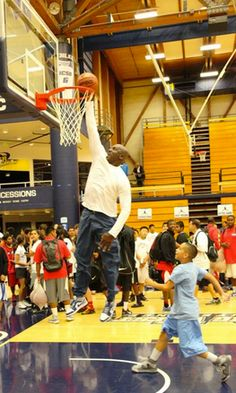"""There's a reason they call him """"His Airness.""""   Michael Jordan, at age 50, can still dunk"""
