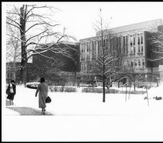 Alden Library in winter looking southeast across College Green, ca. early 1970s :: Ohio University Archives