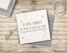"""Carte à offrir ou envoyer. Idéale à offrir à de jeunes mariés !  Citation Jacques Brel :""""Je vous souhaite des rêves à n'en plus finir, et l'envie furieuse d'en réaliser q - 18863912"""