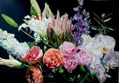 Lamitie - Oil on Linen cm x Available at Parnell Gallery, Auckland NZ Colorful Flowers, Beautiful Images, Floral Wreath, Rose, Gallery, Artist, Plants, Auckland, Inspiration