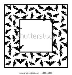 Bat flock. Halloween vintage page vector rectangular border frame for your text. Isolated items. EPS 10