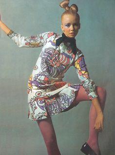 Model wearing an ensemble by Ungaro, 1969. Photo by Guy Bourdin.