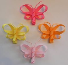 4 Butterfly Ribbon Sculpture Hair Clips Your choice of
