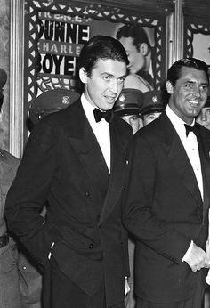James Stewart and Cary Grant attend the premiere of Love Affair, 1939.