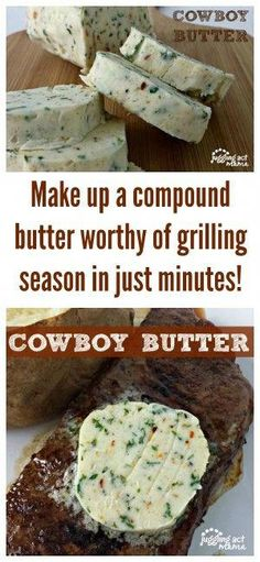 Make up a compound butter worthy of grilling season in just minutes! Make up a compound butter worthy of grilling season in just minutes! Steak Recipes, Grilling Recipes, Cooking Recipes, Salmon Recipes, Chicken Recipes, Healthy Grilling, Vegetarian Grilling, Skillet Recipes, Cooking Tools