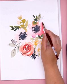 Learn how to paint loose watercolor flowers like this anemone and rose bouquet with Erin of Snowberry Design Co. These tutorials are perfect for begin. How to paint a loose watercolor anemone and rose bouquet Watercolor Flowers Tutorial, Watercolour Tutorials, Flower Tutorial, Floral Watercolor, Watercolour Flowers, Watercolor Painting Techniques, Watercolor Video, Watercolor Projects, Art Floral
