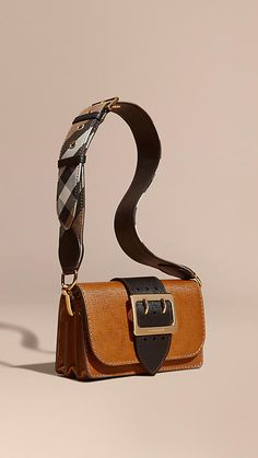 9cb94473aa1f Tan   black The Buckle Bag in Grainy Leather Fashion Bags
