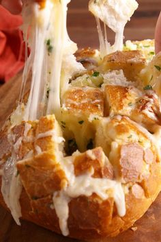 Cheesy Garlic Pull-Apart Bread Lets get ingredients to make at least 2 of theses. i'll make a big batch of my homemade pizza sauce for dipping