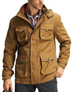 Sportown Men's Fashion New Parka Wind-and water- resistant winter Jacket Windbreaker Khaki Large