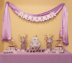 Amazing dessert table at a Sofia the First party!   See more party ideas at CatchMyParty.com!  #partyideas #sofiathefirst