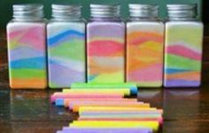 Make coloured sand art by stirring a chalk stick in a bowl of salt.