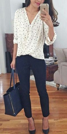business casual office outfit idea: wrap polka dot blouse + navy ankle pants for work . I like this outfit but usually shy away from polka dots because it can be too sweet and I need to get away from the little girl look Casual Office Attire, Casual Work Outfits, Mode Outfits, Work Casual, Easy Outfits, Casual Fall, Stylish Office, Casual Chic, Fall Work Outfits