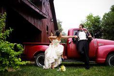 Weddbook ♥ Big red truck. Bride. Groom.