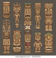 Find Vector Collection Sketches Hawaiian Tiki Idols stock images in HD and millions of other royalty-free stock photos, illustrations and vectors in the Shutterstock collection. Thousands of new, high-quality pictures added every day. Totem Tattoo, Tiki Tattoo, Totems, Totem Tiki, Tiki Maske, Tiki Faces, Tiki Head, Tiki Statues, Tiki Art