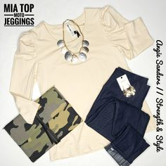 Love the Mia Top with elevated #jeggings  - Our #motojeggings are so good!
