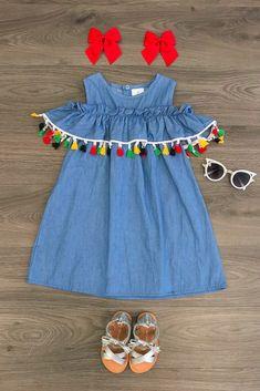 Colorful Tassel Off Shoulder Dress