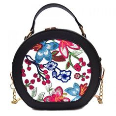 Chain Flower Embroidery Canteen Bag Red ❤ liked on Polyvore featuring bags, handbags, red purse, chain bags, white bag, red handbags and red bags