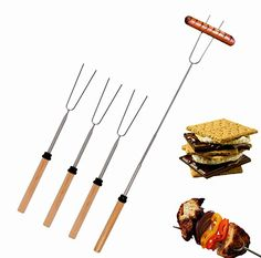 Camping Cooking Utensils - Marshmallow Roasting Sticks Set of 4 Telescoping Hot Dog Forks  Smores Skewers Extendable 12  32 Inch Stainless Steel Camping Accessories for Kids  FREE Carrying Case Included >>> Want to know more, click on the image.