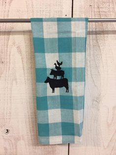 Check it out!  Farm animals checked kitchen towel at www.jendyandfriends.com