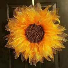 Yellow Sunflower Wreath, Deco Mesh Sunflower Wreath, Summer Wreath, Front Door Flower Wreath Make this using sweetgum balls (from the gum trees) for the center. Wreath Crafts, Diy Wreath, Wreath Ideas, Wreath Burlap, Tulle Wreath, Grapevine Wreath, Deco Mesh Wreaths, Holiday Wreaths, Ribbon Wreaths
