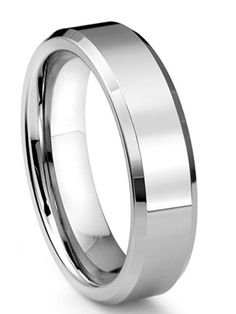 6MM Tungsten Polished Men's Wedding Band Ring [6mm, 8mm]