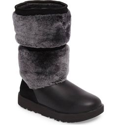 Lush tonal shearling panels texture the shaft of a waterproof winter boot lined with more shearling and grounded by a Vibram sole and Arctic Grip treads that stay flexible, even in the coldest weather.