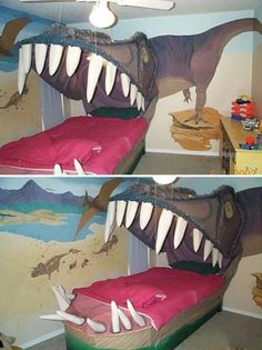 Dinosaur bed. Actually kind of terrifying for small children... but I love it! #nursery #dinosaur #bed