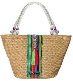 ca7db0ec65 Caffe Swimwear Woven Tote In Green Pink Multi With Rope Handles by Caffe  Swimwear