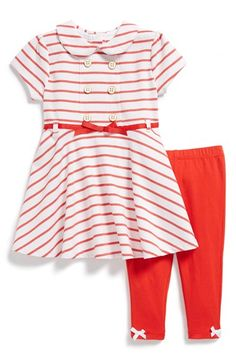 Little Me Stripe Dress & Leggings (Baby Girls) available at #Nordstrom