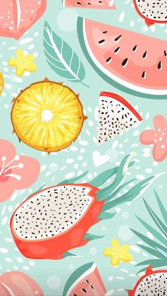 Summer Wallpaper, Vintage Christmas Cards, Vibrant, Tableware, Iphone Wallpapers, Phone Cases, Fruit, Backgrounds, Fruits And Vegetables