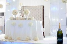 Sweetheart Table White Wedding/ I like the tufted board behind the table