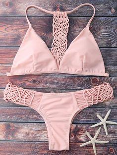$11.23 Cami Strappy Knitting Bikini Set - Pink