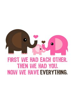 Etsy shop with cute prints for kids rooms or nurseries. Elephant Family Print $10.00